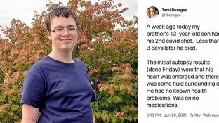 13-Year-Old Michigan Boy Dies 3 Days After Second Dose of Pfizer Vaccine, Aunt Says 'Moral, Ethical, Health' Questions Need Answers