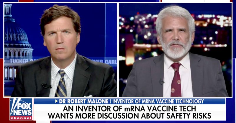Creator of mRNA Vaccine Technology Tells Tucker Carlson: 'Government Not Being Transparent' About Vaccine Risks